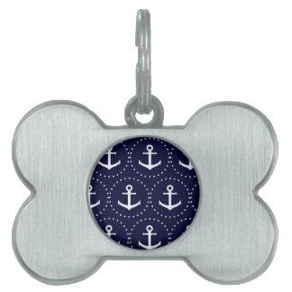 Navy anchor circle pattern pet name tag