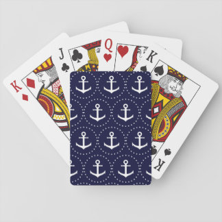 Navy anchor circle pattern playing cards
