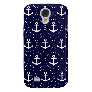 Navy anchor circle pattern samsung galaxy s4 covers