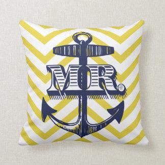 Navy Anchor Mr Groom Zig Zag Pattern Bride Pillow