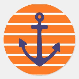 Navy Anchor on Orange Stripe Classic Round Sticker