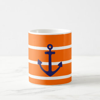 Navy Anchor on Orange Stripe Coffee Mug