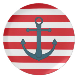 NAVY ANCHOR, RED AND WHITE STRIPES PLATE