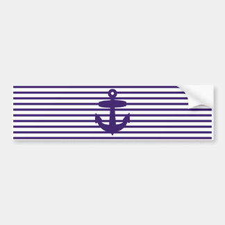 Navy Anchor with Blue Sailor Stripes Bumper Stickers