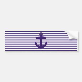 Navy Anchor with Blue Sailor Stripes Car Bumper Sticker