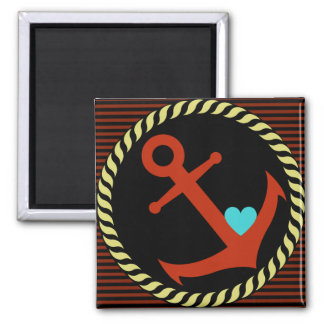 Navy Anchor with Heart magnet