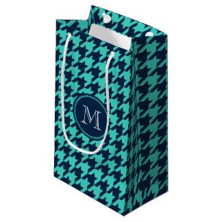 Navy and Aqua Houndstooth Small Gift Bag