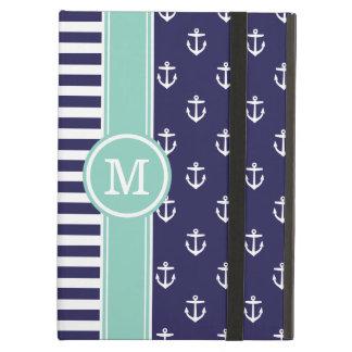 Navy and Aqua Nautical Anchors Monogram Case For iPad Air