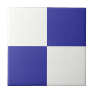 Navy and Beige Checkerboard Design Small Square Tile