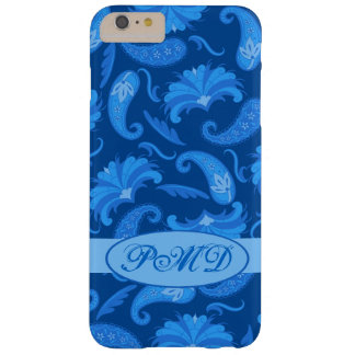 Navy and Blue Art Deco Parisian Paisley Monogram Barely There iPhone 6 Plus Case