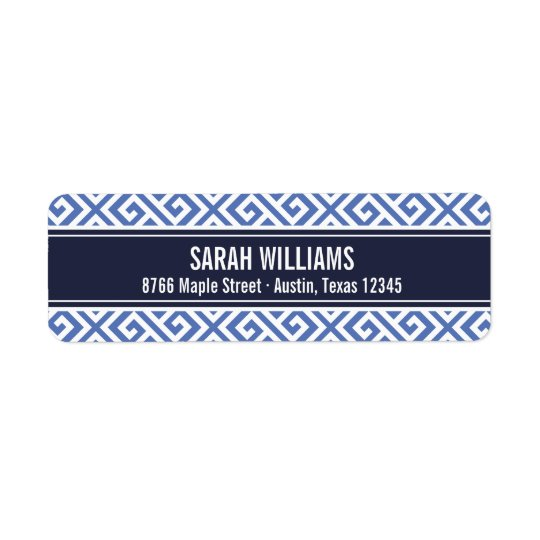 Navy and Blue Greek Key Return Address Label