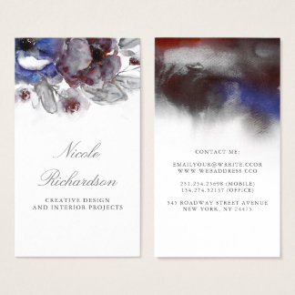 Navy and Burgundy Floral Watercolor Elegant Business Card