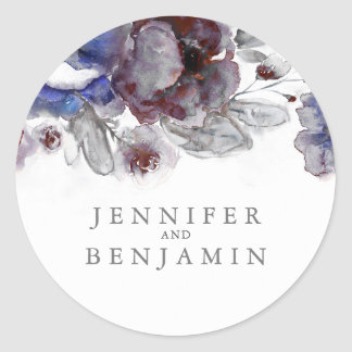 Navy and Burgundy Watercolor Flowers Classic Round Sticker