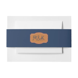 Navy and Copper  Wedding Invitation Belly Band