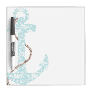 Navy and Coral Anchor Beach Wedding Dry Erase White Board