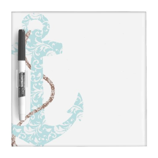 Navy and Coral Anchor Beach Wedding Dry Erase Whiteboards