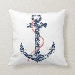 Navy and Coral Anchor Beach Wedding Pillow