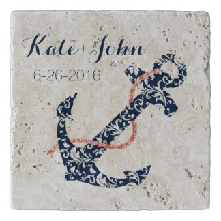 Navy and Coral Anchor Beach Wedding Trivet