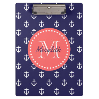 Navy and Coral Anchors Custom Monogram Clipboard