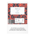 Navy and Coral Damask Wedding Large Candy Bar Wrap 14 Cm X 21.5 Cm Flyer