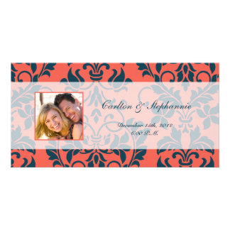 Navy and Coral Damask Wedding Photo Announcement Personalized Photo Card