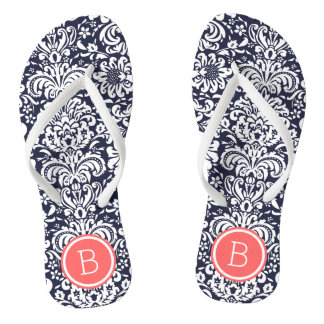 Navy and Coral Floral Damask Monogram Thongs