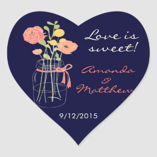 Navy and Coral Mason Jar Wedding Favour Stickers
