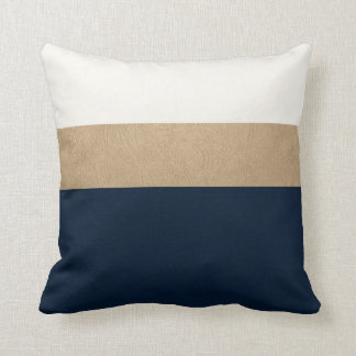 navy and faux gold leather throw cushions