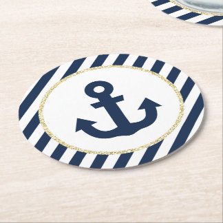 Navy and Gold Anchor Coasters