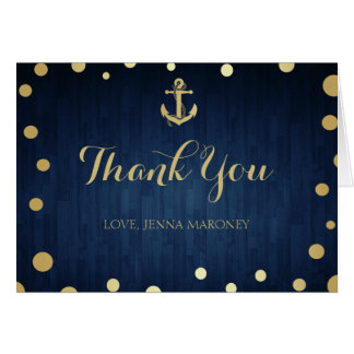 Navy and Gold Anchor Thank You Card