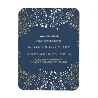 Navy and gold Baby's Breath Save the Date Magnet