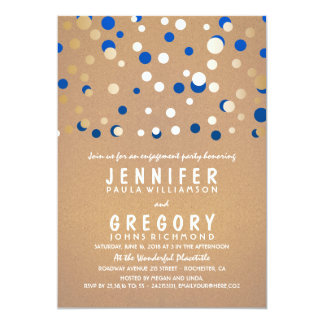 Navy and Gold Confetti Elegant Engagement Party 13 Cm X 18 Cm Invitation Card