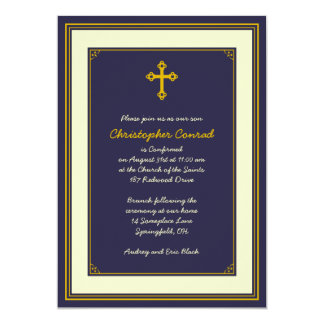 Navy and Gold Confirmation Invitation