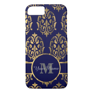 Navy and gold damask monogram iPhone 7 case