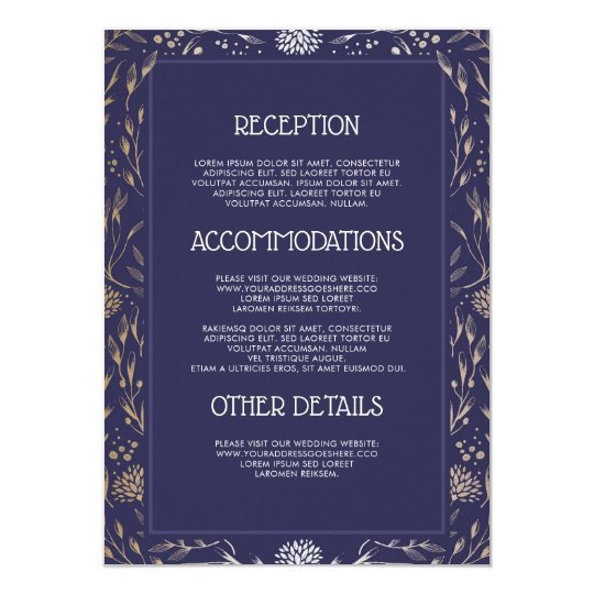 Navy and Gold Floral Wedding Information Guest Card