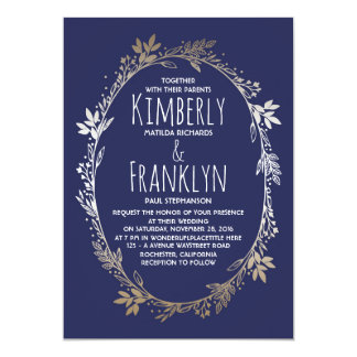 Navy and Gold Floral Wreath Wedding 13 Cm X 18 Cm Invitation Card