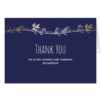 Navy and Gold Florals Elegant Wedding Thank You Card