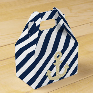 Navy and Gold Glitter Anchor Nautical Favor Box