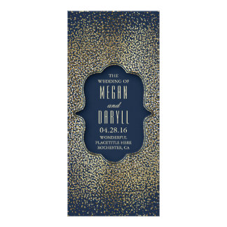 Navy and Gold Glitter Confetti Wedding Programs Rack Card