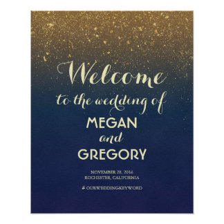 Navy and Gold Glitter Vintage Wedding Welcome Sign Poster