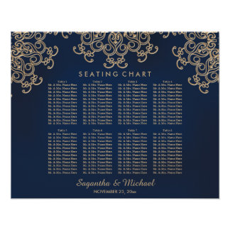 Navy and Gold Indian Inspired Seating Chart Poster
