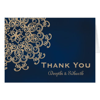 Navy and Gold Indian Style Wedding Thank You Note Card