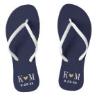 Navy and Gold Modern Wedding Monogram Thongs