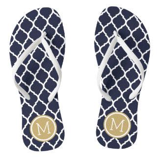 Navy and Gold Moroccan Quatrefoil Monogram Thongs