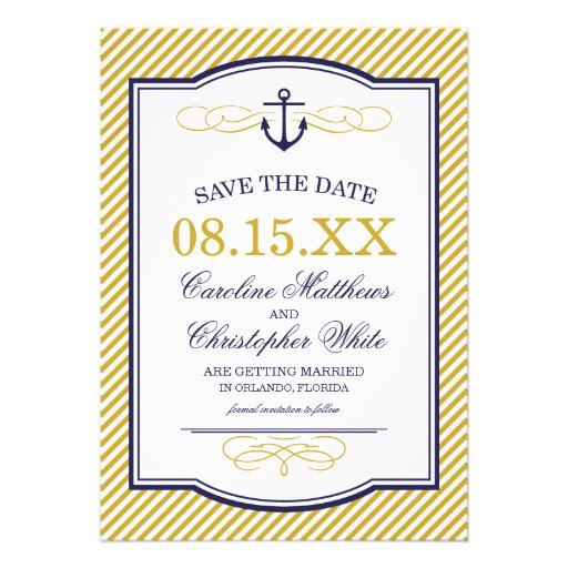 Navy and Gold Nautical Anchor Save the Date Custom Invitations