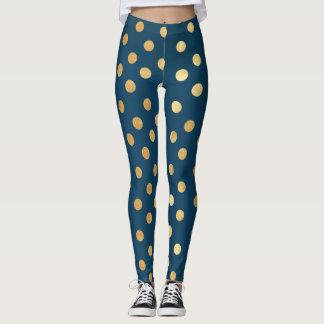 Navy and Gold Polka Dot Leggings