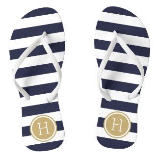 Navy and Gold Preppy Stripes Monogram Thongs