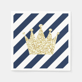Navy and Gold Prince Crown Napkins Paper Serviettes