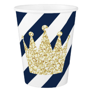 Navy and Gold Prince Crown Party Cups