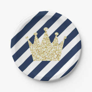 Navy and Gold Prince Crown Party Plates